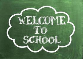bem-vindo ao texto escolar no quadro verde foto