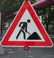 sinalização de obras rodoviárias foto