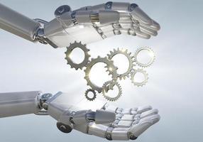 mão de robô segurando engrenagem mecânica 3d de metal foto