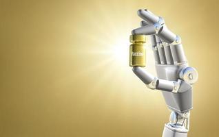 mão robótica segurando a vacina dourada foto