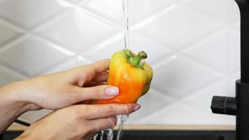 mãos femininas lavando pimenta amarela e vermelha foto
