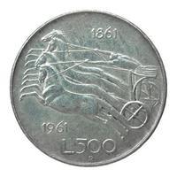 moeda italiana vintage isolada foto