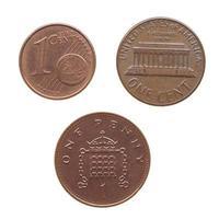 moeda de um centavo isolada foto
