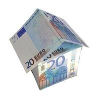 casa do dinheiro isolada sobre o branco foto