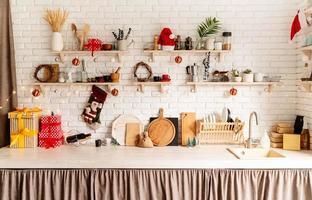 vista frontal de design de interiores de cozinha de natal foto