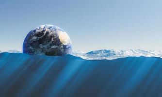 planeta terra flutuando no mar foto