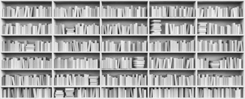 prateleira da biblioteca cheia de livros brancos foto