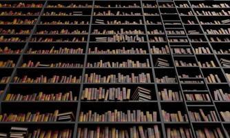 grande biblioteca com escadas foto