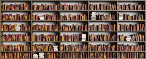 prateleira da biblioteca cheia de livros foto