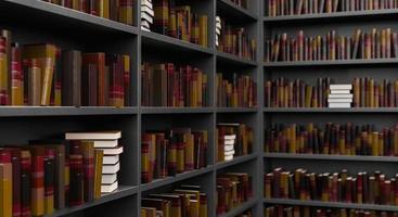 close das prateleiras da biblioteca foto