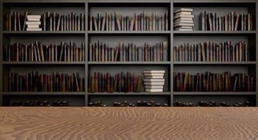 mesa com estantes de biblioteca ao fundo foto