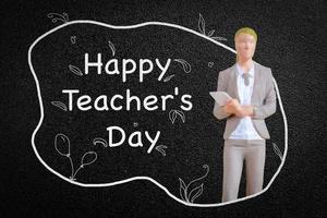 professor de pessoas em miniatura na frente do quadro-negro foto