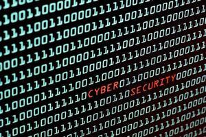 texto de segurança cibernética e código binário foto