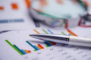 caneta em gráfico ou papel quadriculado. dados de negócios da conta financeira. foto