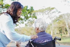 ajudar e cuidar da mulher asiática sênior, sentada na cadeira de rodas no parque. foto