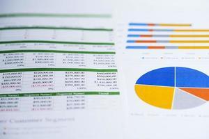 gráfico ou papel quadriculado. dados de negócios da conta financeira. foto