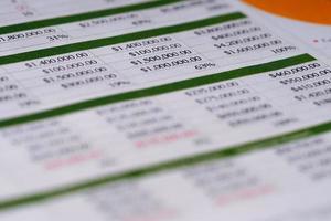 papel de mesa da conta de finanças da planilha. foto