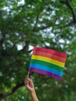 uma mão segura uma bandeira do arco-íris do movimento lgbtq, verde no fundo foto