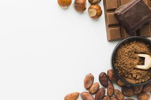 castanhas de grãos de cacau copie o espaço. resolução e bela foto de alta qualidade