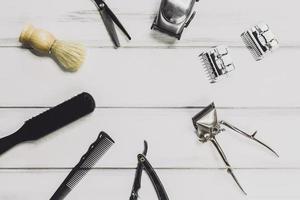 mesa de suprimentos de barbearia. resolução e bela foto de alta qualidade