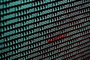 texto de senha e conceito de código binário na tela do desktop foto