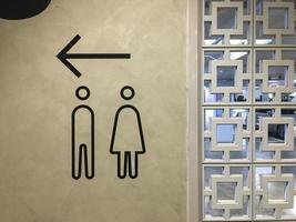 uma placa que indica o caminho para o banheiro em um shopping. foto