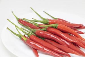 pimentas vermelhas em um prato branco sobre um fundo branco foto