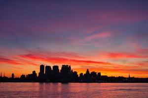 vista noturna do centro da Filadélfia, EUA foto