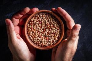 mãos segurando uma tigela de barro com grãos de lentilha foto