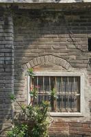 velha ruína parede de gesso e janela rústica vaso de plantas naturais foto