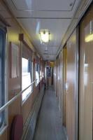 interior do corredor de carruagem da Sibéria, Rússia foto