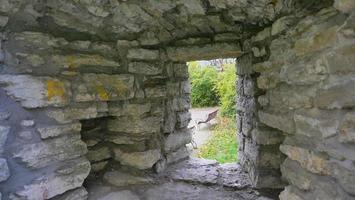 parede de tijolo de pedra centro histórico cidade velha de tallinn, estônia foto
