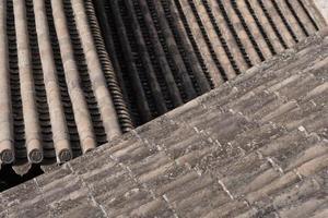 telhado de telha em tianshui folk arts museum hu shi folk house, gansu china foto