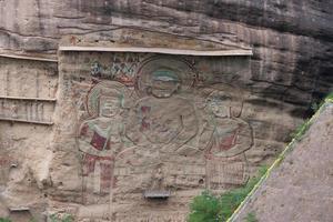 pintura em relevo da gruta do templo la shao em tianshui wushan china foto