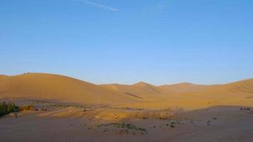 bela vista da paisagem ao anoitecer do deserto em dunhuang gansu china. foto