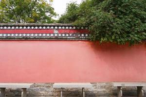 parede retro no mosteiro kumbum, templo ta'er, xining qinghai china. foto