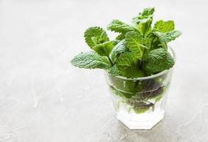 pacote de galhos de hortelã orgânica fresca foto