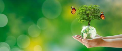 salvando o meio ambiente e o conceito de ecologia mundial. foto