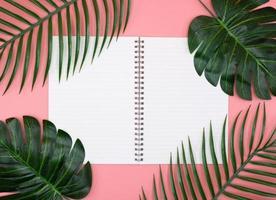 livro de diário branco com plantas verdes em fundo rosa foto