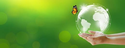 ambiente mundial e conceito verde. copie o espaço. foto