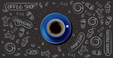 fundo de café com xícara de café realista foto