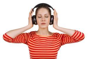 menina, olhos fechados, ouvindo musica foto