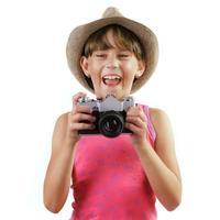garota alegre com uma câmera foto