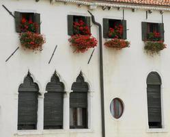 flores vermelhas na janela do prédio branco foto