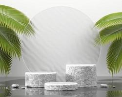 Pódio de pedra abstrato para exibição de produtos com folhas de palmeira renderização em 3D foto