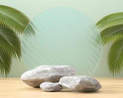 vitrine de plataforma de rocha abstrata para exibição de produto renderização em 3D foto