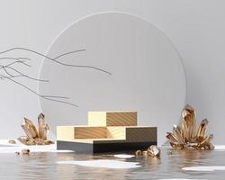 Pódio abstrato preto e de madeira para exibição de produtos renderização em 3d foto