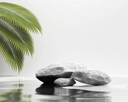 exibição de produto de pódio de plataforma de pedra abstrata renderização em 3d foto
