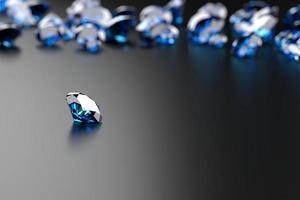 safira de diamante azul colocada em fundo brilhante renderização 3d foto