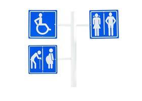 sinais para banheiro e público assinar sobre fundo branco isolado. foto